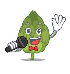 singing artichoke mascot cartoon style vector image