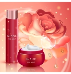 Skin toner contained in bottle and cosmetic jar vector