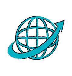 Sphere with arrow around isolated icon vector