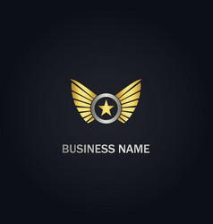 star wing emblem company gold logo vector image
