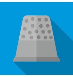 Steel thimble icon flat style vector