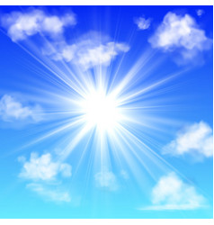 sunny with clouds blue sky with white cloud and vector image