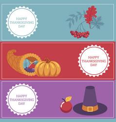 Thanksgiving day congratulation horizontal vector