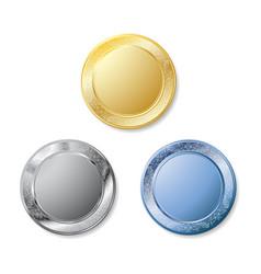 three metal plates vector image