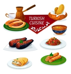 Turkish cuisine traditional dishes cartoon icon vector