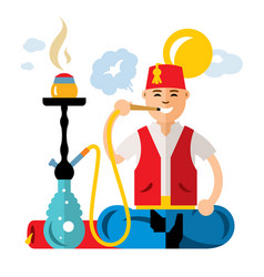 Turkish man with hookah flat style vector