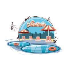 vacations place with pool scene icon vector image