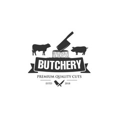 vintage logo butcher shop with picture cow vector image
