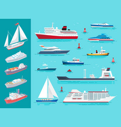 Water transport ships traveling means set vector
