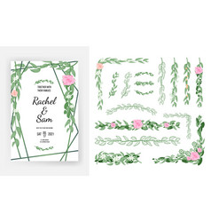wedding invitation template and floral design vector image