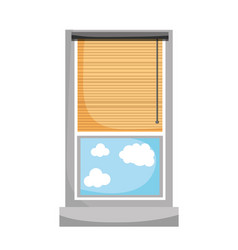 Window with curtain blind open and clouds vector