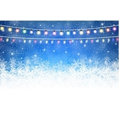 Winter background with shiny lights vector image vector image