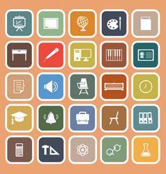 classroom flat icons on orange background vector image