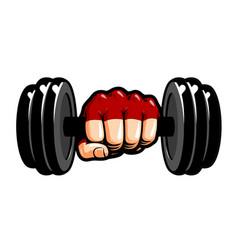 heavy dumbbell in hand cartoon gym bodybuilding vector image