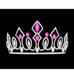 Tiara crown womens wedding with pink stones vector