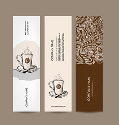 banners design with coffee cup vector image vector image