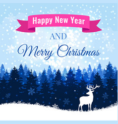 christmas background with deer and winter forest vector image