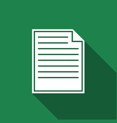 Document icon isolated with long shadow vector