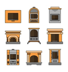 Fireplaces Flat Icons for Design vector image