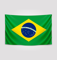 hanging flag of brazil federative republic of vector image vector image