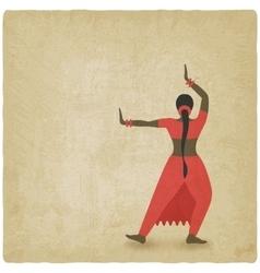 Indian dancer old background dance club symbol vector image vector image