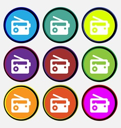 Retro Radio icon sign Nine multi-colored round vector image