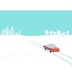 car is in countryside vector image