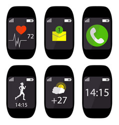 collection smart watch with icons on the display vector image