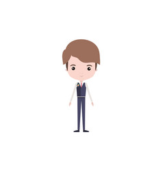 Colorful caricature groom guy in wedding formal vector