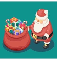 Gifts Bag Cute Isometric 3d Christmas Santa Claus vector image