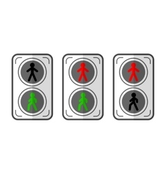 Traffic light for pedestrians Flat colored vector image