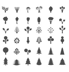 tree silhouette set vector image