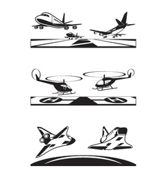 Air transportation set vector image