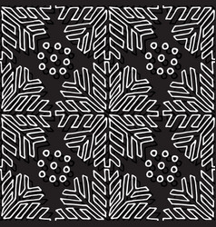 christmas seamless pattern black and white vector image vector image