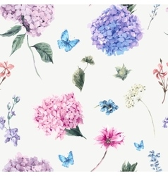 Floral seamless pattern with Blooming Hydrangea vector image