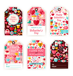 Happy Valentine Day Gift Tag Template Flat Set vector image