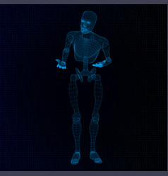 humanoid robot in a questioning pose vector image