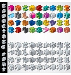 Multicolored and Monochrome Isometric 3D Font vector image vector image