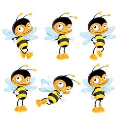 set funny bee vector image vector image