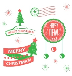 Set of labels and elements for Christmas and New vector image vector image