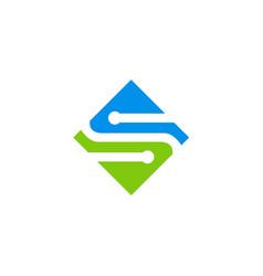 square letter s technology logo vector image