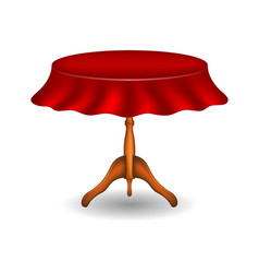 wooden round table with tablecloth vector image