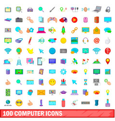 100 computer icons set cartoon style vector