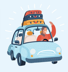 a teenage girl traveling by car vector image