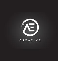 Ae circular letter logo with circle brush design vector
