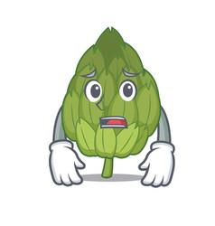 afraid artichoke mascot cartoon style vector image