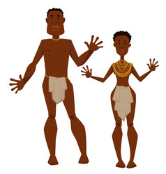African tribe man and woman aborigines in animal vector