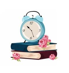 Alarm clock and books set vector