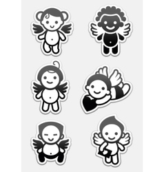 Angel icons and cupids signs vector