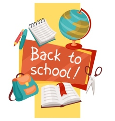 Back to school background with education icons vector